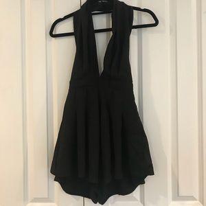 Black Mini Halter Dress/Romper